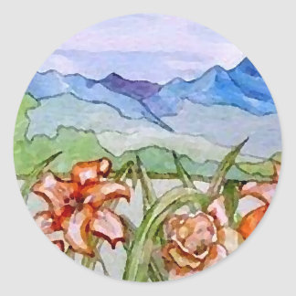 Mountain Floral - CricketDiane Art Classic Round Sticker