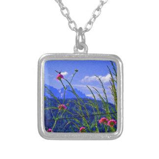 Mountain Flowers Square Pendant Necklace