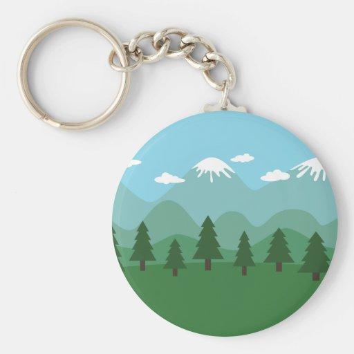 Mountain Forest Basic Round Button Keychain