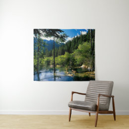 Mountain Forest Lake Medium Wall Tapestry