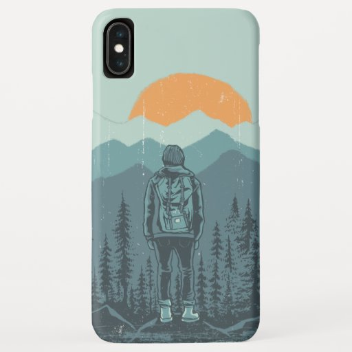 Mountain Forest Sunset Backpack Hiker Woman  iPhone XS Max Case
