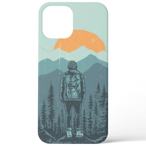 Mountain Forest Sunset Backpack Hiker Woman iPhone 12 Pro Max Case