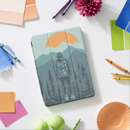 Mountain Forest Sunset Backpack Hiker Woman iPad Pro Cover