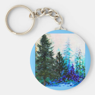 MOUNTAIN FOREST TREES IN BLUE KEYCHAIN