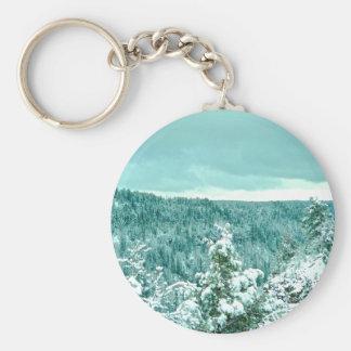 Mountain forest winter wonderland keychains