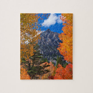 Mountain framed in fall foliage, CA Jigsaw Puzzle
