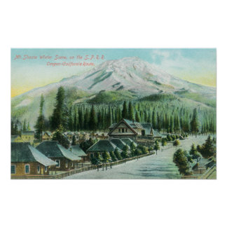 Mountain from Southern Pacific Railroad Poster