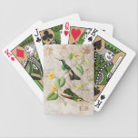 "Mountain Gem Hummingbird Playing Cards<br><div class=""desc"">Personalized deck of cards with a vintage illustration of two bright green hummingbirds with black and white face masks perched on a tropical vine with yellow flowers,  on an off-white vintage grunge background with gold swirls and floral silhouettes. Perfect gift for birders and nature lovers of all ages.</div>"