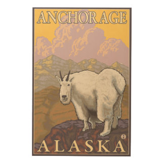 Mountain Goat - Anchorage, Alaska Wood Wall Art