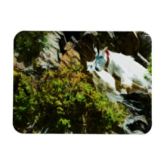 Mountain Goat and Baby Abstract Impressionism Magnet