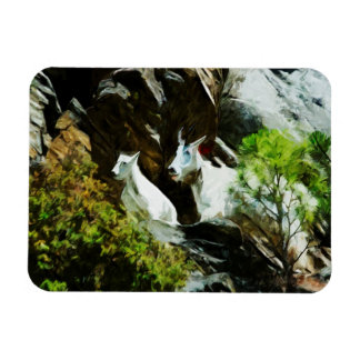 Mountain Goat and Baby Abstract Magnet