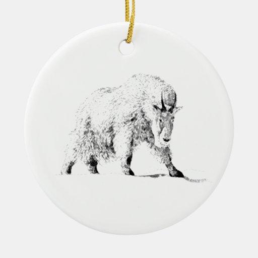 Mountain Goat Logo (line art) Double-Sided Ceramic Round Christmas Ornament