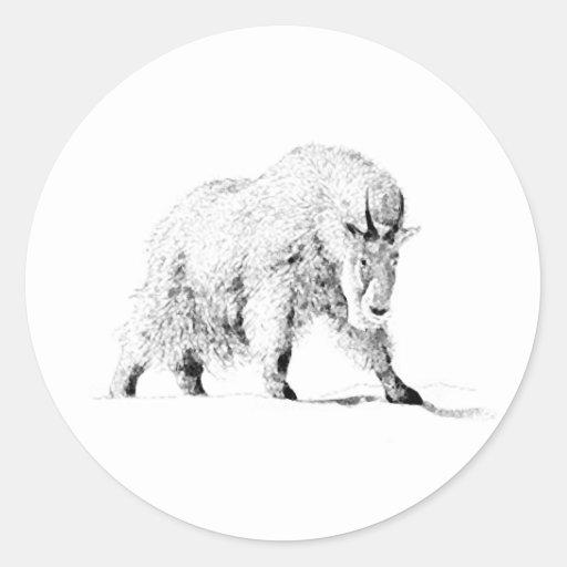 Mountain Goat Logo (line art) Round Sticker