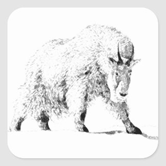 Mountain Goat Logo (line art) Square Stickers