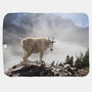 Mountain Goat on Gunsight Pass Receiving Blanket