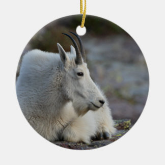 mountain goat resting Double-Sided ceramic round christmas ornament