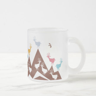 Mountain Goats Frosted Glass Coffee Mug