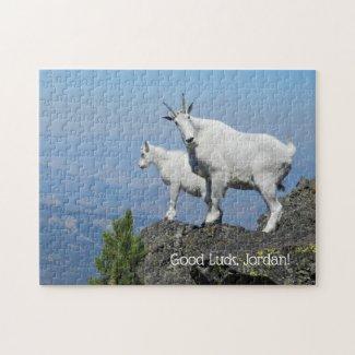 Mountain Goats Photo Template Custom Name Jigsaw Puzzle