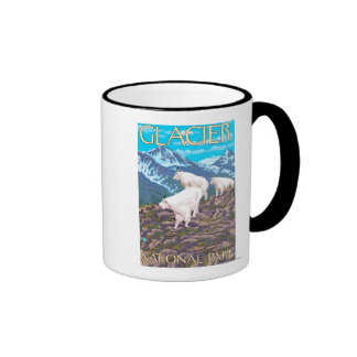 Mountain Goats Scene - Glacier National Park, Coffee Mugs