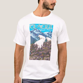 Mountain Goats Scene - Glacier National Park, T-Shirt