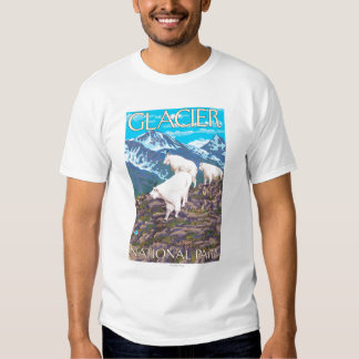 Mountain Goats Scene - Glacier National Park, Tee Shirt
