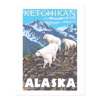 Mountain Goats Scene - Ketchikan, Alaska Postcard
