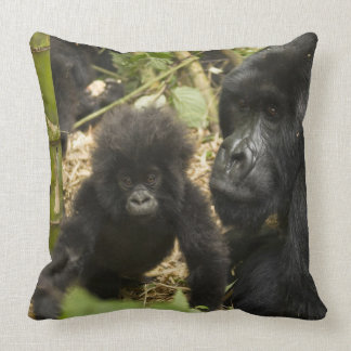 Mountain Gorilla, adult with young Throw Pillows