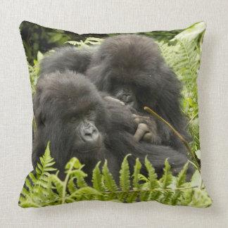 Mountain Gorilla, family in day nest Throw Pillow