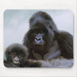 Mountain Gorilla Father and Baby Conservation Art Mouse Pad