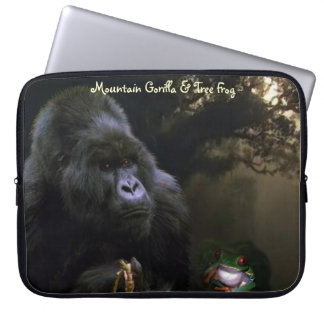 Mountain Gorilla, Tree Frog Wildlife Laptop Sleeve
