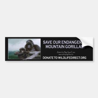 Mountain Gorillas Wildlife Support Bumper Sticker Car Bumper Sticker