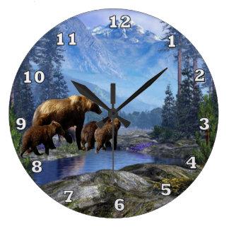 Mountain Grizzlies Animal Wall Clock
