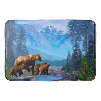 Mountain Grizzly Bears Bathmat