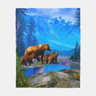 Mountain Grizzly Bears Fleece Blanket