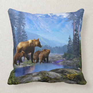 Mountain Grizzly Bears Throw Pillow