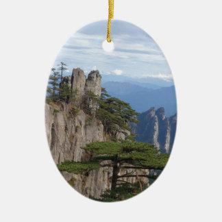 mountain hill tree sky ceramic ornament