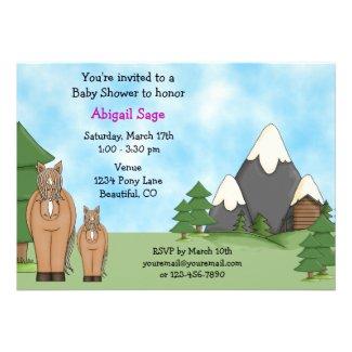 Mountain Horses Baby Shower Invitation for Girls