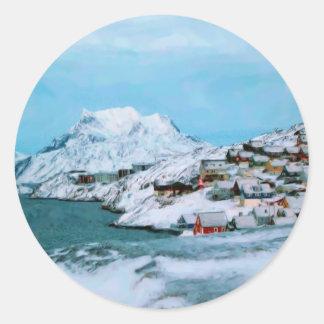 Mountain Houses Snow Davuis Strait by Ozborne W Classic Round Sticker
