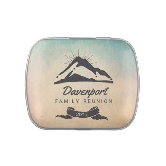 Mountain Illustration with Sun Rays Family Reunion Jelly Belly Tin