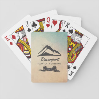 Mountain Illustration with Sun Rays Family Reunion Playing Cards