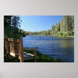 Mountain Lake, Bench Poster