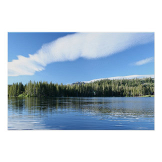 Mountain Lake, Blue Sky & Clouds Poster