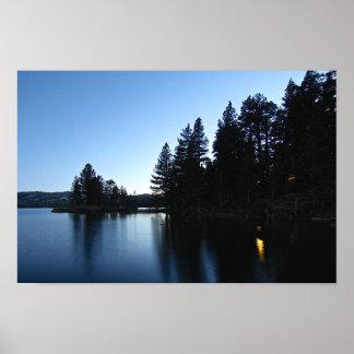 Mountain Lake, Cabin, Night Poster