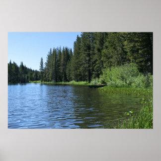 Mountain Lake, Canoe Poster