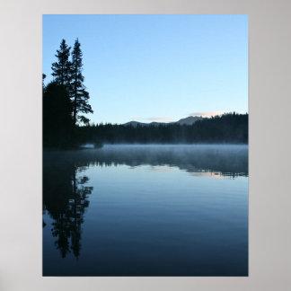 Mountain Lake, Dawn, Mist Print