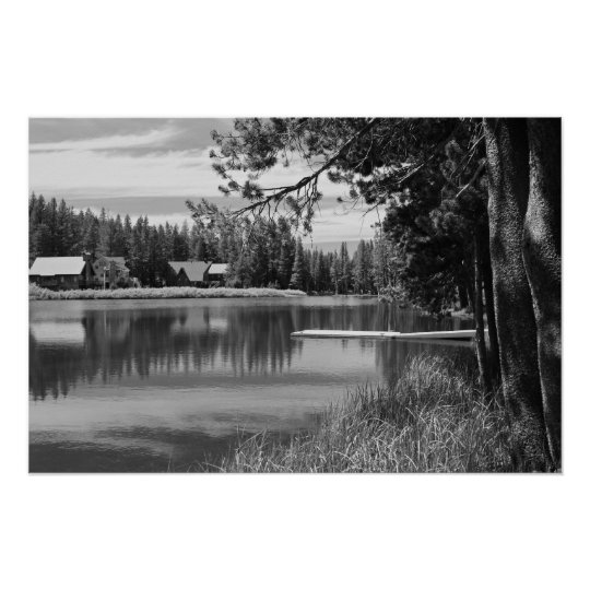 Mountain Lake, Dock, Black and White Poster