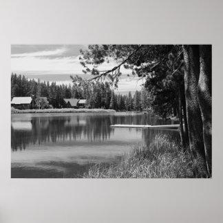 Mountain Lake, Dock, Black and White Print