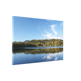 Mountain Lake, Forest, Cabins, Blue Sky Canvas Print