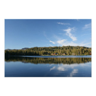 Mountain Lake, Forest, Cabins, Blue Sky Poster