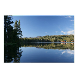 Mountain Lake, Forest, Cabins, Dusk Posters